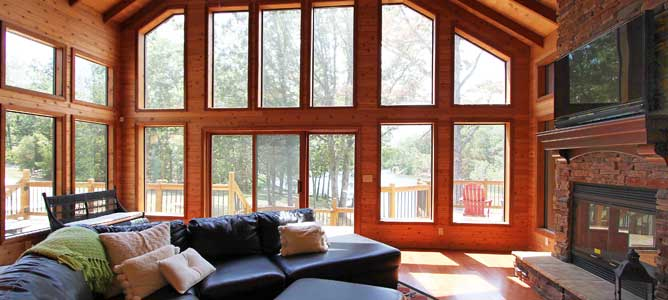 Wall of Windows Inside a Chalet